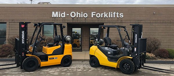 Forklifts Parked Outside Mid-Ohio Forklifts