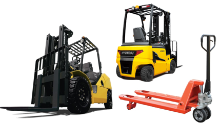 Two Forklifts and Pallet Carrier