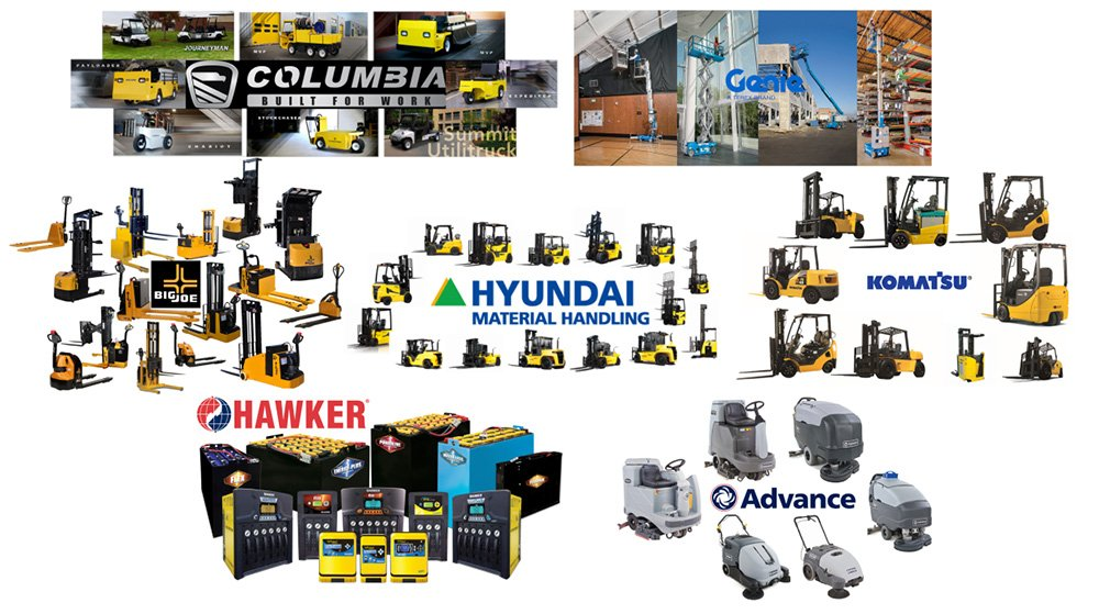 Forklifts and Warehouse Equipment from Various Manufacturers