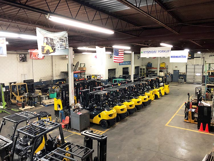 Selection of Rental Forklifts in Store